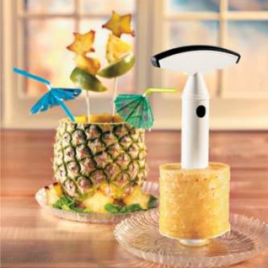 Core and slice a pineapple at the same time—no mess!