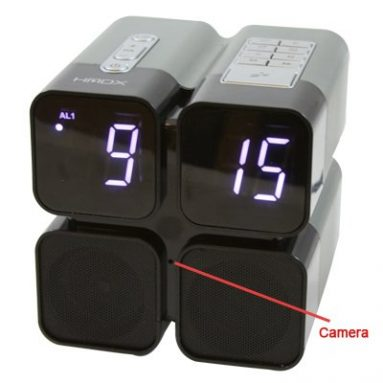 Quad Alarm Clock Radio SD Card Hidden Camera