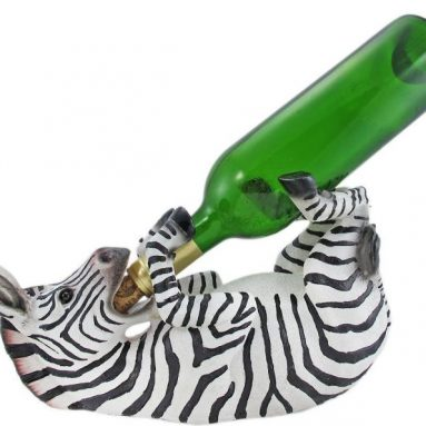 Zebra Hand Painted Wine Bottle Holder