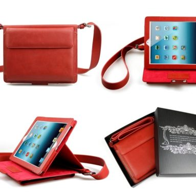Leather Shoulder Bag Case with Stand for iPad 2, 34, New iPad