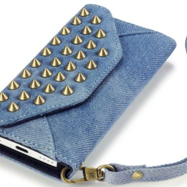 iPhone 5C Trendy Studded Rock Chic Purse Style Wallet Case
