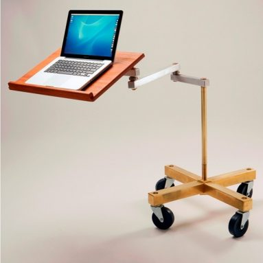 Cantilevered Laptop Desk with Solid Brass or Copper Base