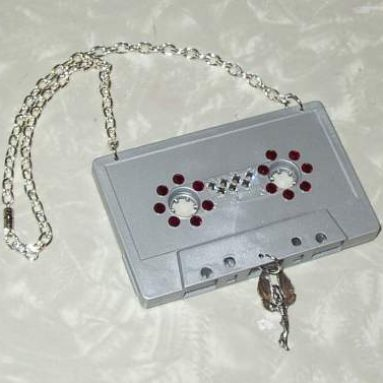 Cassette Tape Necklace SWAROVSKI crystals