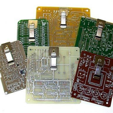 Recycled circuit board mini magnetic clipboards