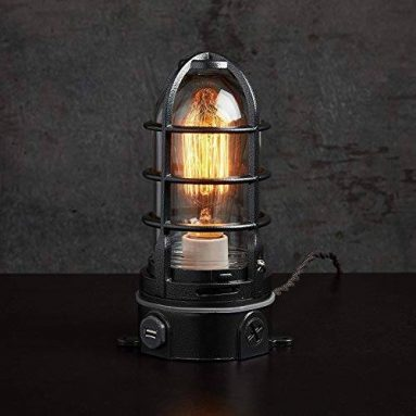 Nautical style industrial cage lamp with USB and touch dimmer
