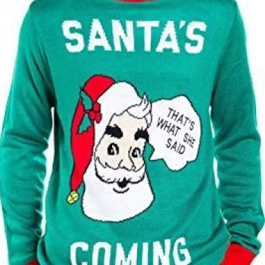 Men's Santa's Coming to Town Funny Christmas Sweater – Green Santa Ugly Christmas Sweater