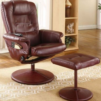 Leather Massage Recliner Swivel Chair & Ottoman With Heat
