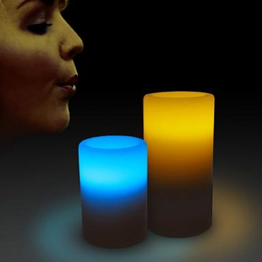 Bi-Color LED Blow On-Off Candles