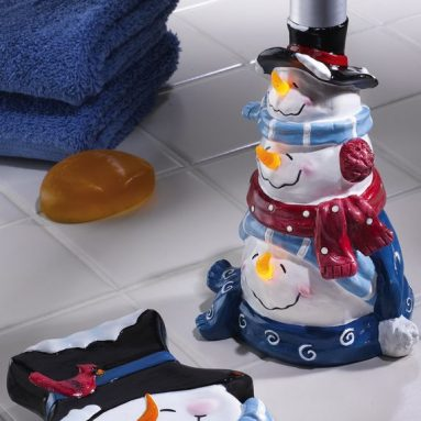 Snowman Holiday Bathroom Soap Dish & Pump Dispenser