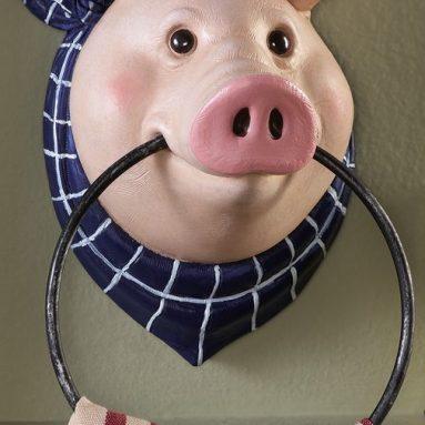 Pig Kitchen Wall Mount Towel Holder