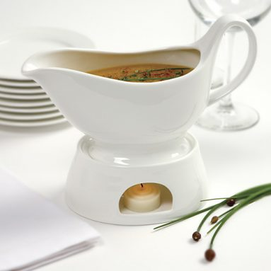 Gravy boat and warming stand