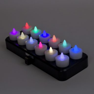 Remote Control LED Rechargeable Tea Lights – Set of 12