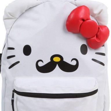 Hello Kitty Black Mustache Reversible Backpack