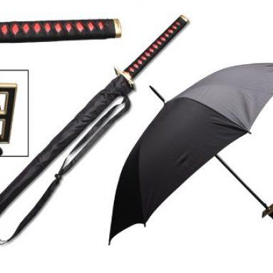 41″ Red fushi (feng shui) samurai handle umbrella