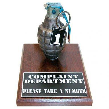 """Complaint Department Grenade, """"Take A Number"""", Desktop Model"""