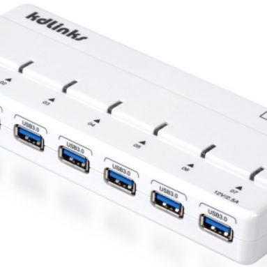 Super Speed USB 3.0 5Gbps 7 Ports Hub w/ Power Adapter