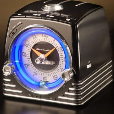 Retro Neon Alarm Clock Radio