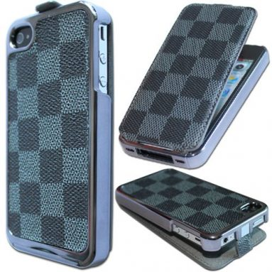 Chrome Flip Leather Case for iPhone 4S