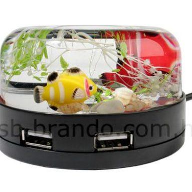 USB Fish Tank 4-Port Hub + Magnetic Clip Holder