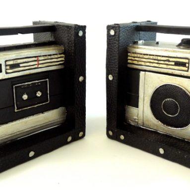 Retro Style Boom Box Set Bookends