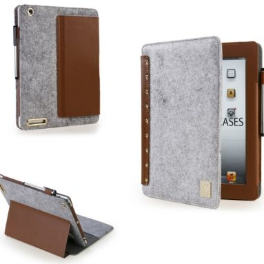 Apple iPad 2/3/4 Wool Felt Portfolio in Grey/Brown