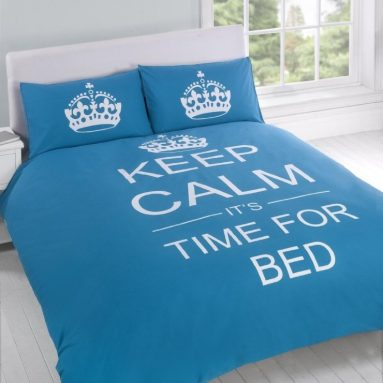 KEEP CALM ITS TIME FOR BED cotton reversible comforter cover