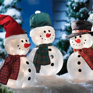 Lighted Inflatable Yard Snowmen