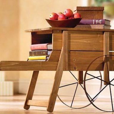 Wooden Wheelbarrow Side Table