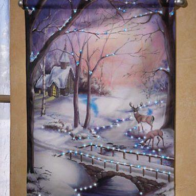 Winter Scene Wall Print With Fiber Optics Lights