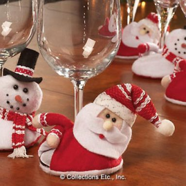 Santa and Snowmen Holiday Wine Glass Coasters