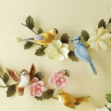 Birds & Flowers Metal Wall Hanging
