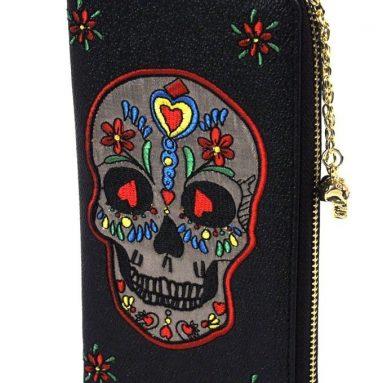 Silver Sugar Skull Wallet