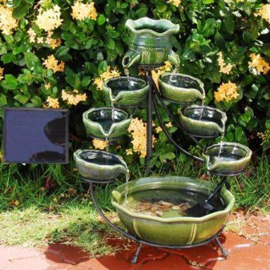 Duo Cascading Ceramic Solar Fountain